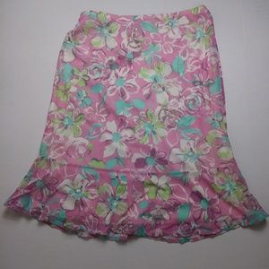 New York & Company Floral Print Midi Skirt Medium